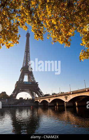 France, Paris, the bridge of Jena and the Eiffel Tower - Stock Photo