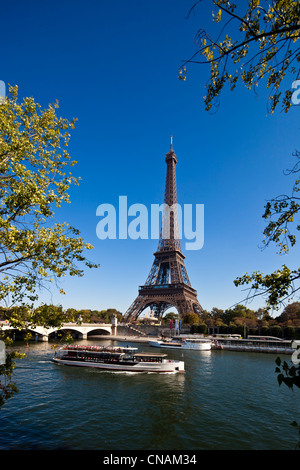 France, Paris, Seine river banks, listed as World Heritage by UNESCO, the Eiffel Tower - Stock Photo