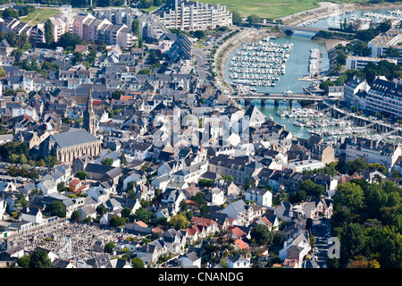France, Loire-Atlantique, Le Pouliguen, the town and the port (aerial photography) - Stock Photo