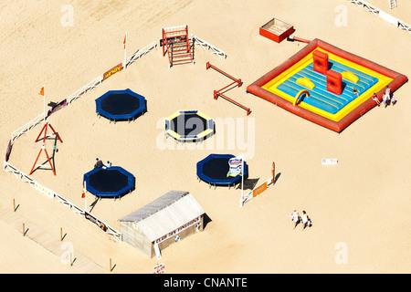 France, Loire-Atlantique, Saint-Brévin, kids beach club (aerial photography) - Stock Photo