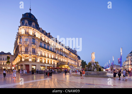 France, Herault, Montpellier, historical center, the Ecusson, Place de la Comedie (Comedy Square), the building - Stock Photo
