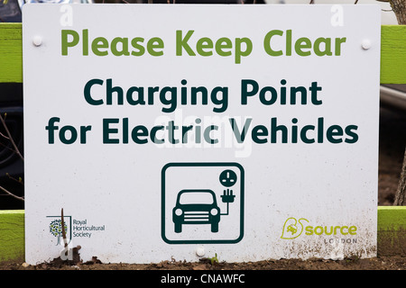 Charging point for Electric Vehicles sign at RHS Wisley. - Stock Photo