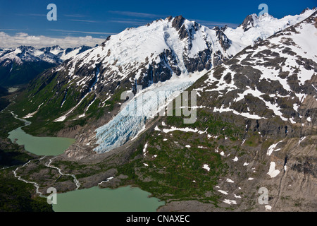 Aerial view of an unnamed glacier and headwaters of Nourse River in the Coastal Mountain Range north of Skagway, - Stock Photo