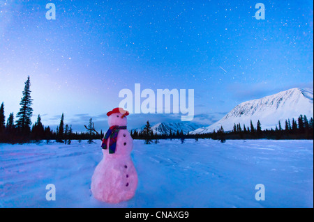 COMPOSITE, Snowman standing in a field at twilight, Winter, Broad Pass, Parks Highway, Southcentral Alaska - Stock Photo