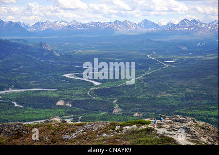 Hikers view the Parks Highway and the Nenana River from the Mt. Healy Overlook Trail in Denali National Park & Preserve, - Stock Photo
