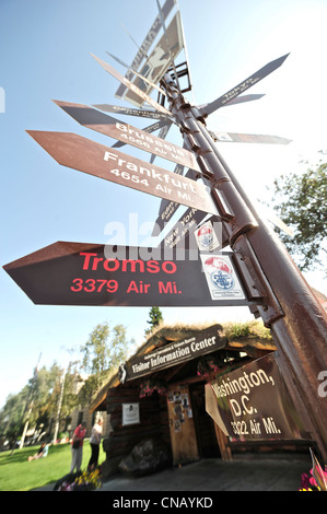 Close up of milepost sign at the Visitor Information Center log cabin on 4th Ave., Anchorage, Southcentral Alaska, - Stock Photo