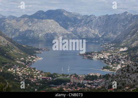 Aerial view of populous rural valley - Stock Photo