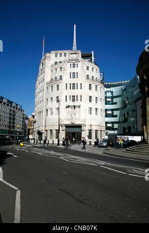 Broadcasting House on Langham Place, Marylebone, London, UK - Stock Photo