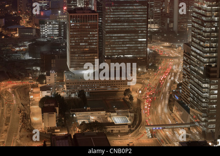 Aerial view of city center at night - Stock Photo