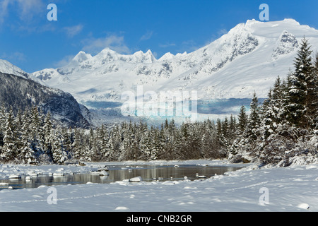 Scenic winter landscape of Mendenhall River, Mendenhall Glacier and Towers, Tongass National Forest, Southeast Alaska - Stock Photo