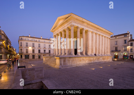 france gard nimes maison carree old roman temple of the 1st century stock photo royalty free. Black Bedroom Furniture Sets. Home Design Ideas