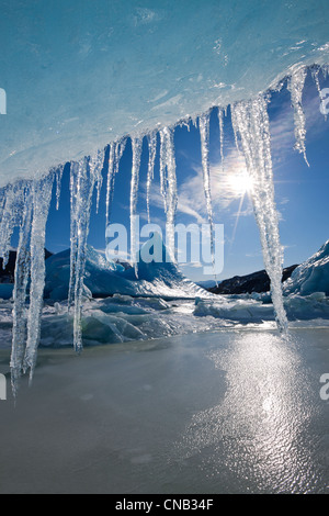 Sun shines through icicles hanging from the edge of an iceberg frozen into the surface of Mendenhall Lake, Alaska - Stock Photo