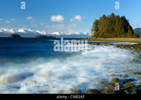 COMPOSITE: Wind and waves pound the rocky coastline along Eagle Beach, Lynn Canal, Inside Passage, Alaska - Stock Photo