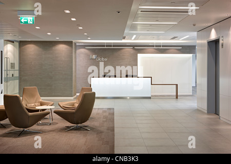 bank reception lift chairs waiting room - Stock Photo
