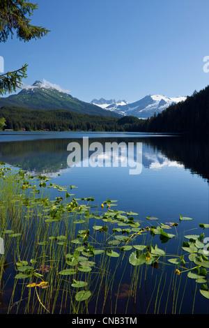 Scenic view of Auke Lake and Mendenhall Glacier and Coast Range Mountains, Southeast Alaska, Summer - Stock Photo