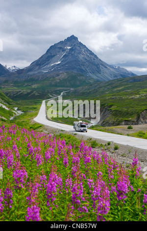 Scenic view of a RV traveling on the Alaska Highway near Haines Junction, Yukon Territory, Canada, Summer - Stock Photo