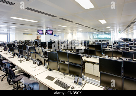 city bank trading floor desks - Stock Photo