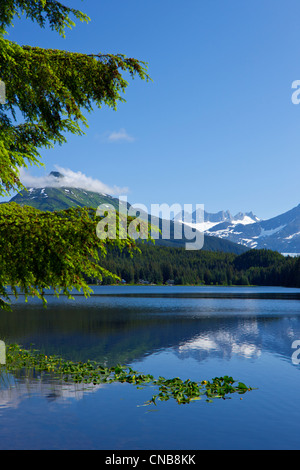 Scenic view of Auke Lake and Mendenhall Glacier and Coast Range Mountains, Southeast Alaska, Summer - Stock Photo