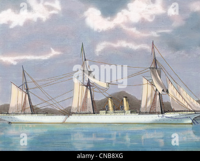 Clipper Steamship Stirling Castle. 19th century. Colored engraving. - Stock Photo