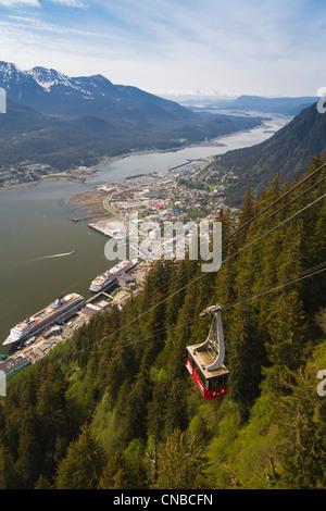 View of downtown Juneau and Douglas Island from Mt. Roberts Tram, Southeast Alaska, Summer - Stock Photo