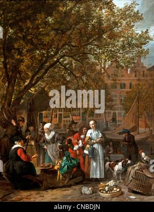 On the herb or vegetable market of Amsterdam 1660 Gabriel METSU 1629 - 1667 Dutch Netherlands - Stock Photo