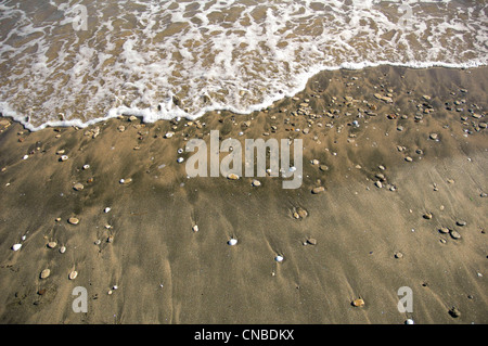 A calm wave gently washing the rocks and seashells on the sandy beach - Stock Photo