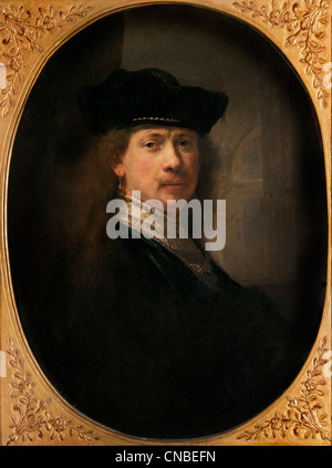 Self portrait young with cap and architecture 1640 Rembrandt Harmensz. van Rijn Dutch 1606–1669 Netherlands - Stock Photo