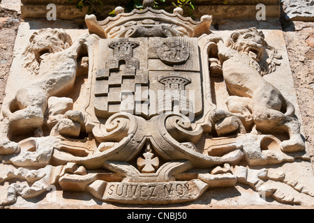 France, Pyrenees Orientales, Castelnou, labelled Les Plus Beaux Villages de France (The Most Beautiful Villages - Stock Photo