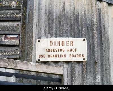 Danger Sign On An Industrial Building With Corrugated