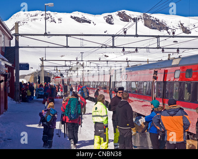 Finse railway station on the Hardanger plateau in Norway. Oslo to Bergen railway - Stock Photo