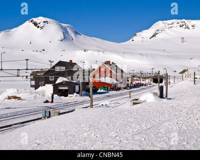 Finse railway station on the Hardanger plateau in Norway, winter. On the Oslo to Bergen railway - Stock Photo