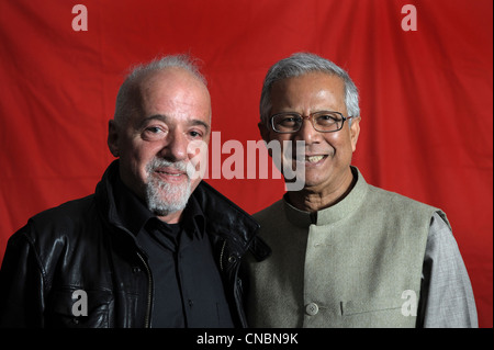 Paulo Coelho (left) and Nobel Peace Prize Laureate professor Muhammad Yunus, Wolfsburg, Germany - Stock Photo