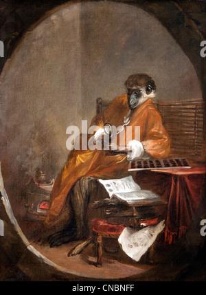 Le singe antiquaire - The Monkey Antiquarian Jean Simeon Chardin  1699 – 1779 France French - Stock Photo