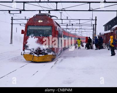 Finse railway station on the Hardanger plateau in Norway in winter, Oslo to Bergen railway - Stock Photo