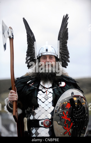 Men dressed in Viking costume take part in the annual Up Helly Aa festival in Lerwick, Shetland Island, Scotland. - Stock Photo