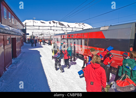 Finse railway station on the Hardanger plateau in Norway, Oslo to Bergen railway - Stock Photo