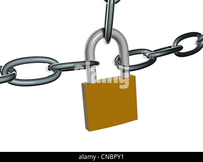 Chains with lock isolated on white background. Security concept. High quality 3D render. - Stock Photo