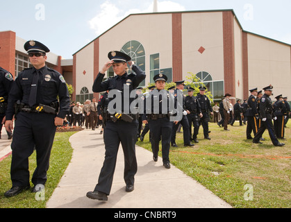 Crowd of officers in uniform attended funeral for Austin Police Officer  who was killed in the line of duty in a - Stock Photo