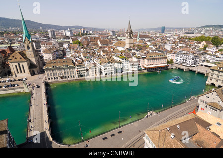 Horizontal wide angle view across Lindenhof, the historical west bank of the river Limmat in the centre of Zürich - Stock Photo