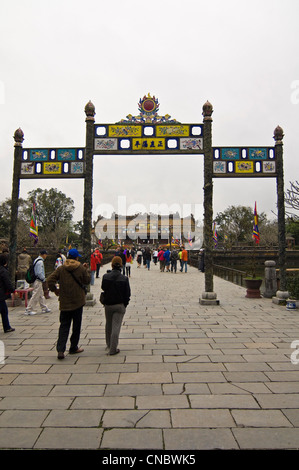 Vertical view of San Dai Trieu Nghi (Esplanade of Great Salutation) inside the Imperial or Royal Citadel in Hue, - Stock Photo