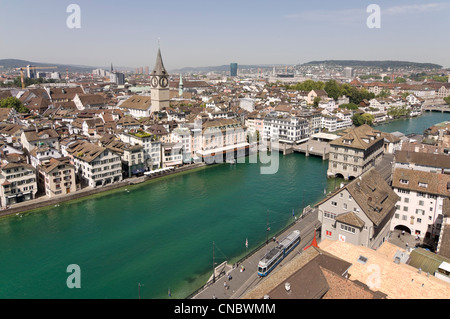 Horizontal wide angle view across Lindenhof, the historical centre of Zürich on a bright sunny day. - Stock Photo