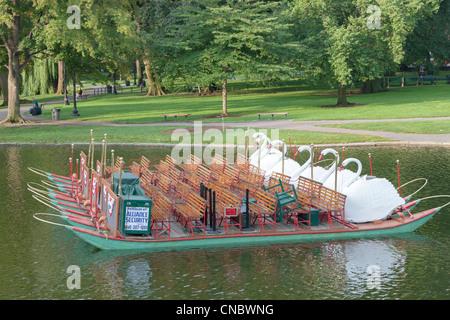 An empty Swan boat in a lake in Boston Public Garden in Boston, Massachusetts. - Stock Photo