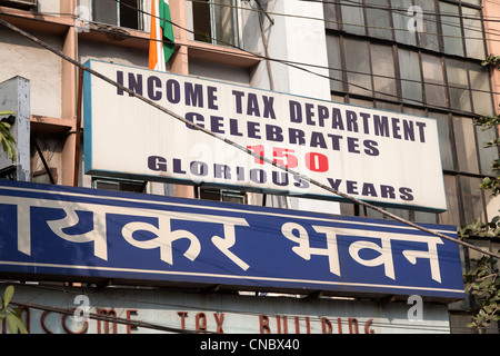 India, West Bengal, Calcutta, Income Tax Office sign - Stock Photo
