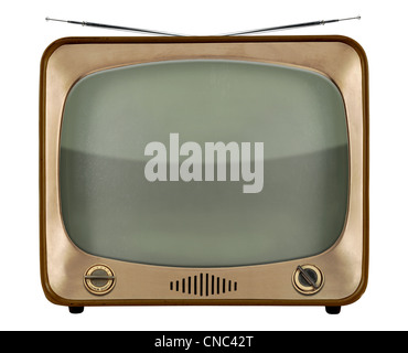 Vintage TV from the 1950s isolated over white background - With Clipping Path - Stock Photo