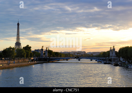 France, Paris, Seine river banks listed as World Heritage by UNESCO, the Pont Alexandre III and Eiffel Tower - Stock Photo