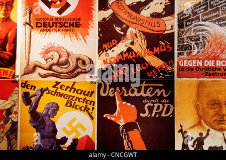 Nazi and Communist Party election posters from the 1930s Germany - Stock Photo