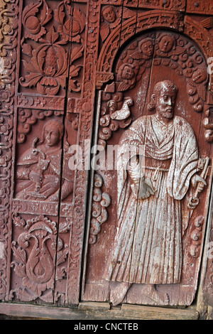 Four hundred year old wooden doors of the Immaculate Conception Church. Guiuan, Samar, Eastern Visayas, Philippines - Stock Photo