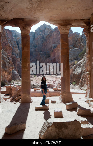 Visitor to the Garden Tomb in Petra's Butterfly Valley - Stock Photo