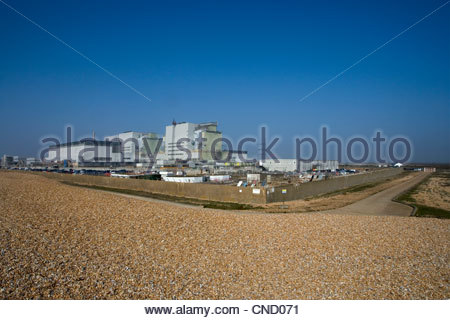 nuclear power station at dungeness on the kent coast - Stock Photo