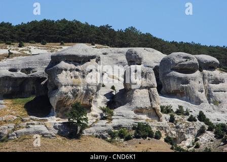 Ukraine. Autonomous Republic of Crimea. Eroded landscape near Bakhchisaray. - Stock Photo